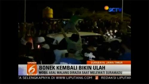 Video milik RCTI yang memberitakan Bonek sebagai pelaku pengrusakan.