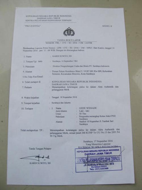 Surat bukti laporan kepolisian yang ditujukan untuk Gede Widiade.